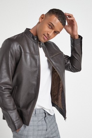 Brown Signature Leather Racer Jacket