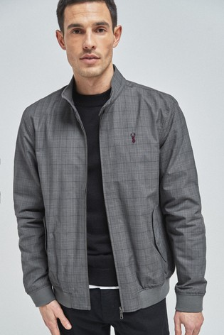 Grey Check Shower Resistant Harrington Jacket With Check Lining