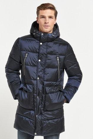 Navy Shower Resistant Longline Puffer Jacket