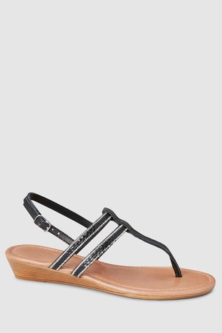 9fd60fb30e12a Buy Black Low Wedges With Toe Post from the Next UK online shop