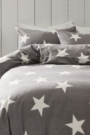 Buy Brushed Cotton Stars Duvet Cover And Pillowcase Set