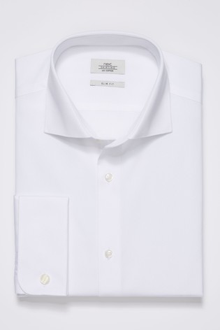 e14efb4f57d1 Buy White Slim Fit Double Cuff Curved Cutaway Collar Shirt from Next ...