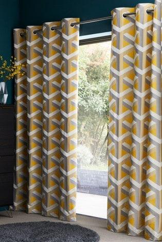 Buy Optical Geo Jacquard Eyelet Curtains From The Next Uk