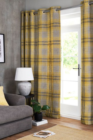 Buy Astley Check Eyelet Lined Curtains From Next Ireland