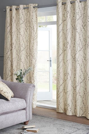 Buy Delicate Willow Print Eyelet Lined Curtains From The