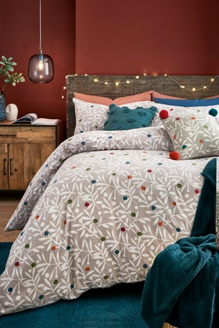 Buy Brushed Cotton Berry Sprig Duvet Cover And Pillowcase