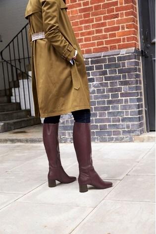 f687976eceb5 Buy Burgundy Block Heel Knee High Boots from Next USA