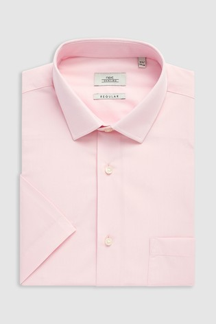 afa2a2fe Buy Light Pink Regular Fit Short Sleeve Easy Care Shirt from Next Kuwait