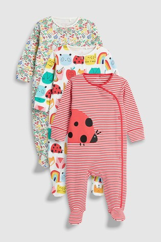 19fc9a0c6b01 Buy Red Pink Ladybird Character Sleepsuits Three Pack (0mths-2yrs ...