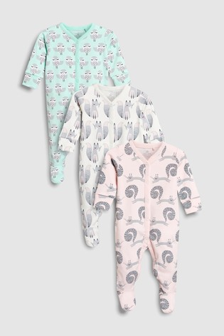 5dd6c1784a91 Buy Pink Mint Woodland Character Sleepsuits Three Pack (0mths-2yrs ...