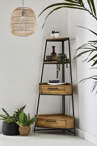 Jefferson Rustic Corner Ladder Shelf
