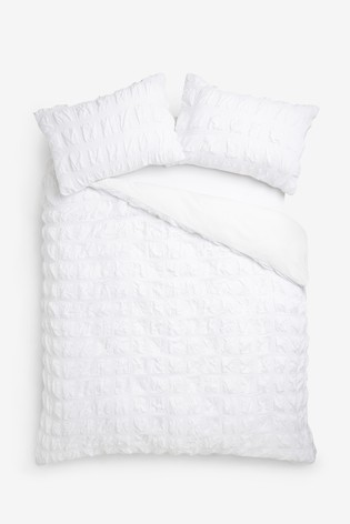 Seersucker Square Duvet Cover And Pillowcase Set
