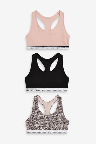 Black/Pink/Print Daisy Crop Tops Three Pack