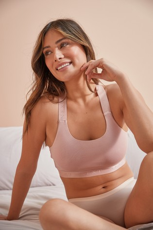 Pink Low Impact Cotton Sports Crop Bra
