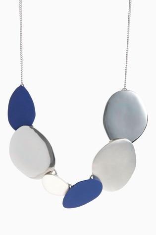 Silver Tone/Cobalt Matte Coated Collar Necklace