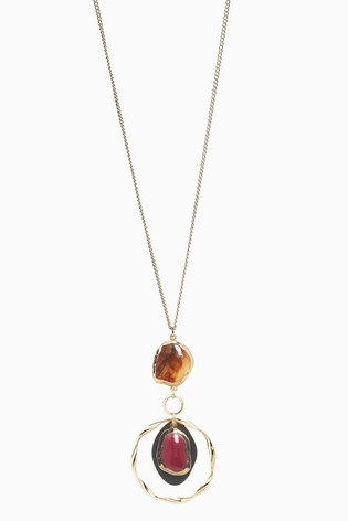 Gold Tone Stone Pendant Long Necklace