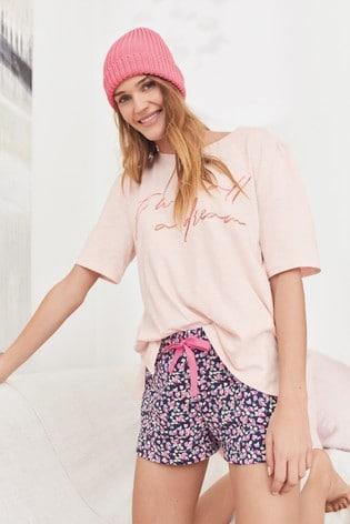 Pink Ditsy Cotton Blend Pyjama Short Set