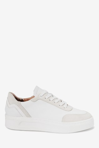 White Signature Leather Back Detail Trainers