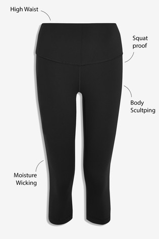 Black High Waisted Cropped Sculpting Leggings