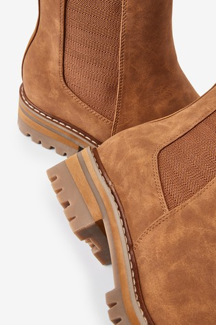Tan Regular/Wide Fit Forever Comfort® Chunky Casual Chelsea Boots