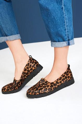 Animal Leather Motion Flex Slip-On Shoes