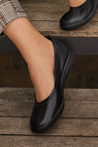 Black Leather Forever Comfort® With Motion Flex EVA Ballerina Shoes
