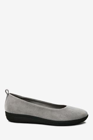 Grey Suede Forever Comfort® With Motion Flex EVA Ballerina Shoes