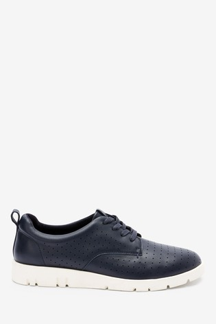 Navy Forever Comfort® With Motion Flex Leather Lace-Up Shoes
