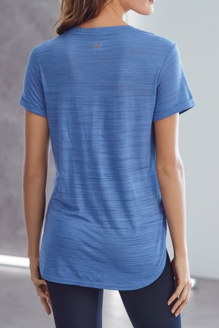 Blue Short Sleeve V-Neck Sports Top