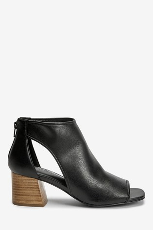Black Stacked Heel Forever Comfort® Low Cut-Out Shoe Boots