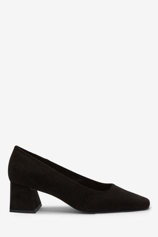Black Square Toe Block Court Shoes