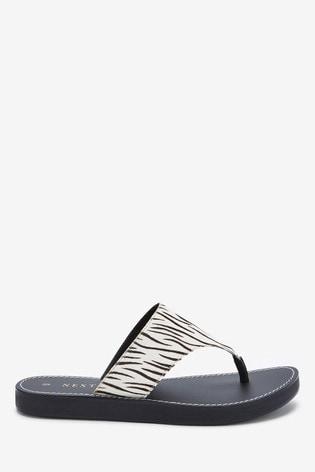 Zebra Regular/Wide Fit Platform Toe Post Mules