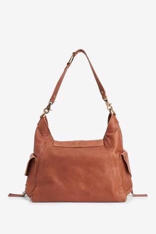 Tan Leather Hardware Pocket Hobo Bag