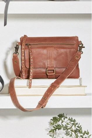Tan Leather Stud Across Body Bag