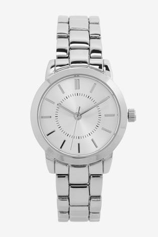 Silver Tone Simple Bracelet Watch