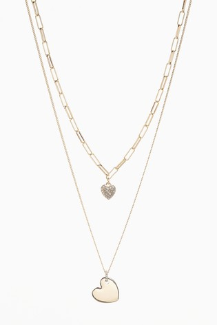 Gold Tone Two Layer Pavé Heart Necklace