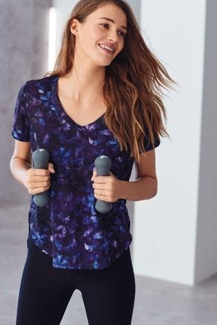 Floral Print Short Sleeve V-Neck Sports Top