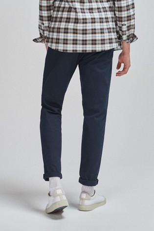 Navy Tapered Slim Fit Pleat Front Chinos
