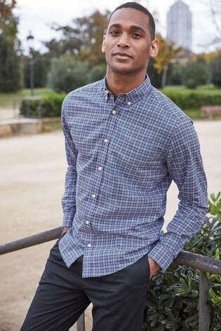 Blue Regular Fit Lightweight Check Shirt