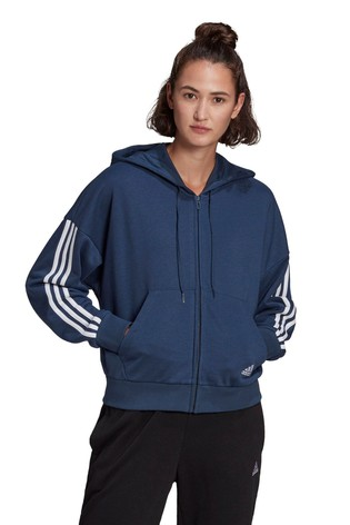 adidas 3 Stripe Sport Fashion Zip Through Hoodie