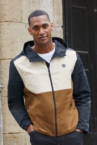 Tan Shower Resistant Colourblock Jacket With Fleece Lining