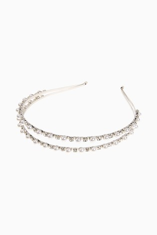 Silver Tone Pearl And Crystal Effect Two Row Headband