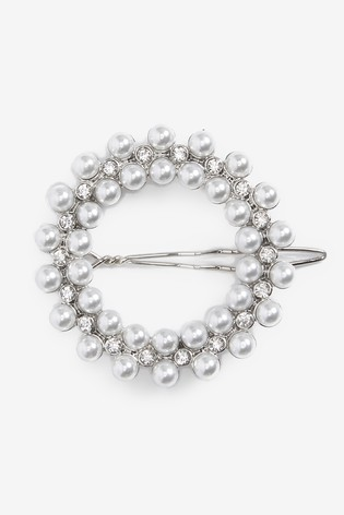 Silver Tone Pearl And Crystal Effect Hair Clip