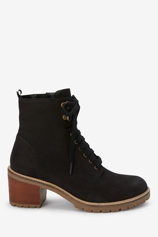 Black Signature Heeled Cleat Lace-Up Boots