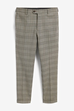 Taupe Skinny Fit Check Suit: Trousers
