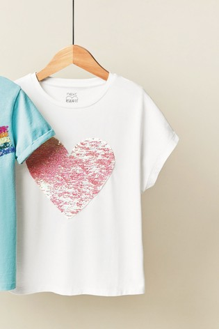 White Shiny Sequin Heart T-Shirt (3-16yrs)