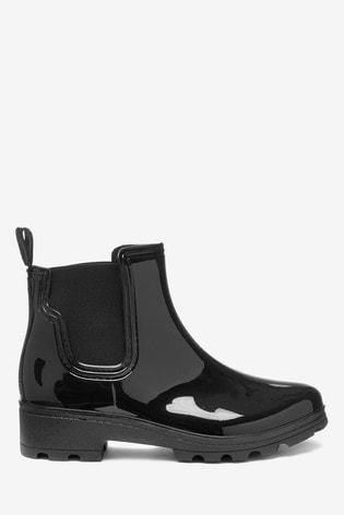 Black Patent Ankle Wellington Boots