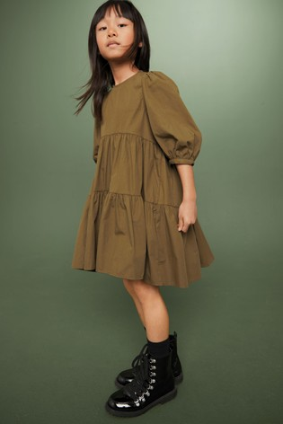 Olive Tiered Dress (3-16yrs)
