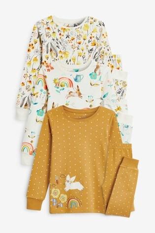 Ochre/Cream 3 Pack Appliqué Bunny Cotton Snuggle Pyjamas (9mths-8yrs)