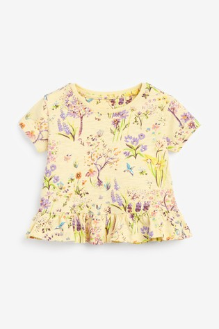 Lilac/Ecru/Yellow 3 Pack Floral Cotton Slub Short Pyjamas With Embroidery (9mths-12yrs)